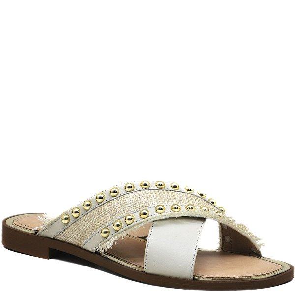 2400460da3 Rasteira Rebites Ouro em X - Off White - KI 3617 - Sapatos