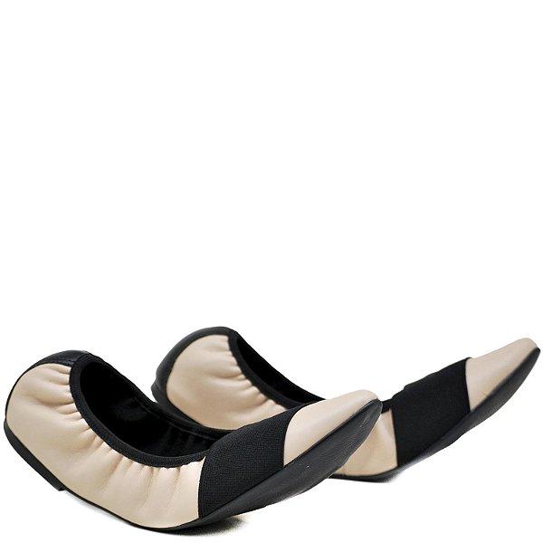 Sapatilha confortável - Elástico - Nude / Preto - GIU 22238