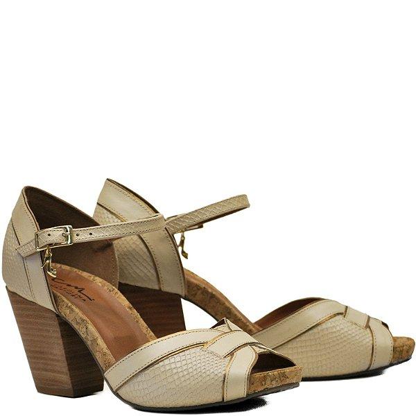 Sandália Anatômica Confortável - Pérola / Bronze - PL 2218