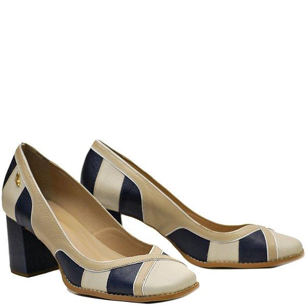 Sapato, Salto Grosso Médio - Off / Ostra / Cobalto - PL 23103
