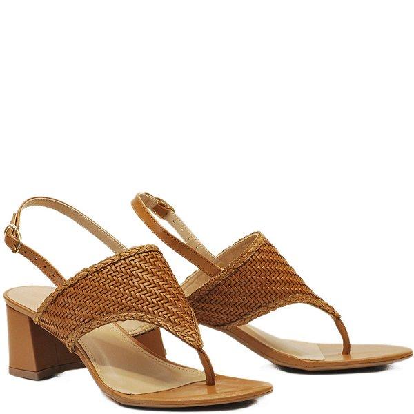 Sandália de Dedo Fechada Salto Grosso Médio - Trançado Ambar - NAT 1083070