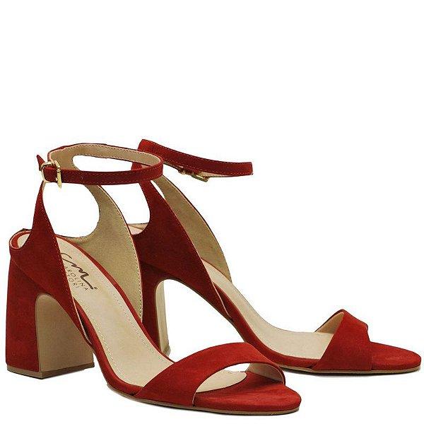 Sandália Salto Grosso - Nobuck Carmin - KI 3950
