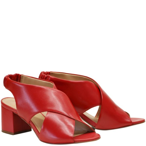 Sandália em X Salto Grosso Médio -  Vermelho - GIU 46639