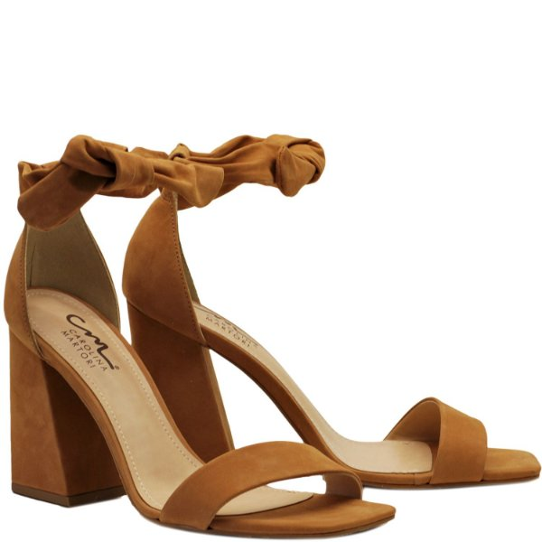 Sandália Alta de Amarrar - Nobuck Camel - KI 4209