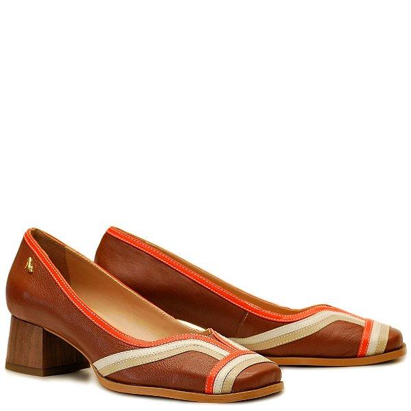 Sapato Salto Grosso Baixo - Rum / Ostra / Off / Tangerina - PL 43101