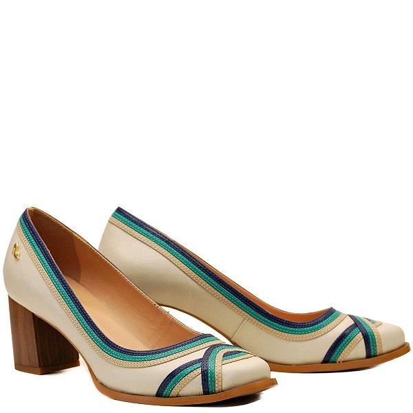Sapato Salto Grosso Médio - Off White / Ostra / Anil / Hortelã - PL 16116