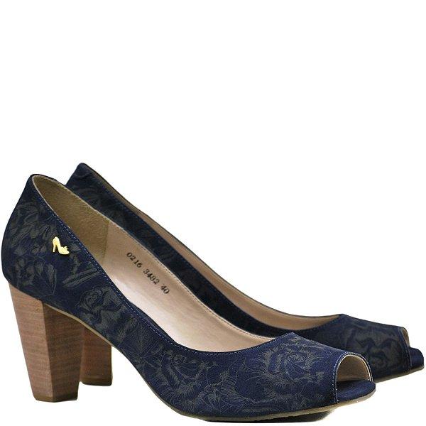 Peep Toe Desenho em Laser - 3482 - Azul