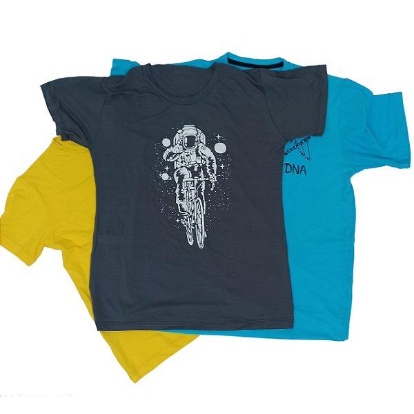 Kit com 3 Camisetas Sortidas 100% Poliamida Corrida e Academia - Linha Running Monaro