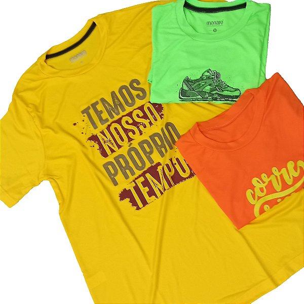 Kit com 3 Camisetas Sortidas 100% Poliamida  Corrida e Academia - Linha Premium Monaro