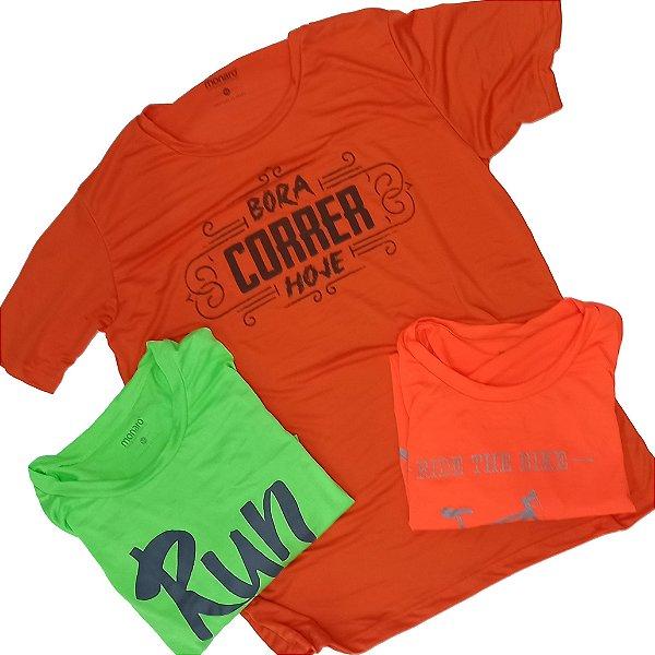 Kit com 3 Camisetas Sortidas Dry 100% Poliéster Corrida e Academia - Linha Sprint Monaro