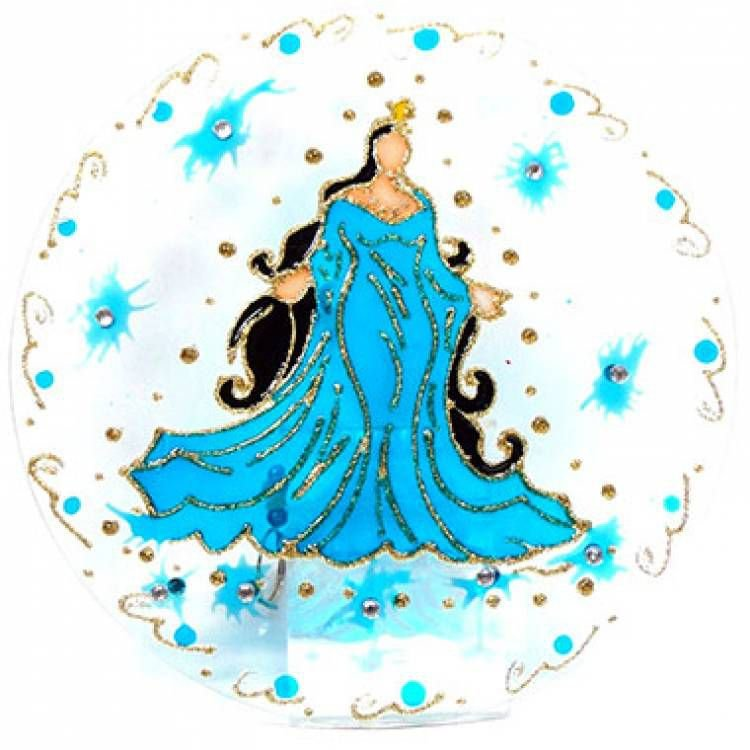 Mandala Iemanjá 20cm vidro