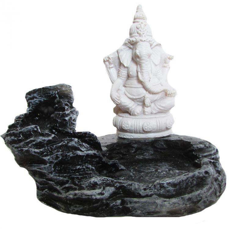 Incensário Cascata Ganesha 7cm Branco
