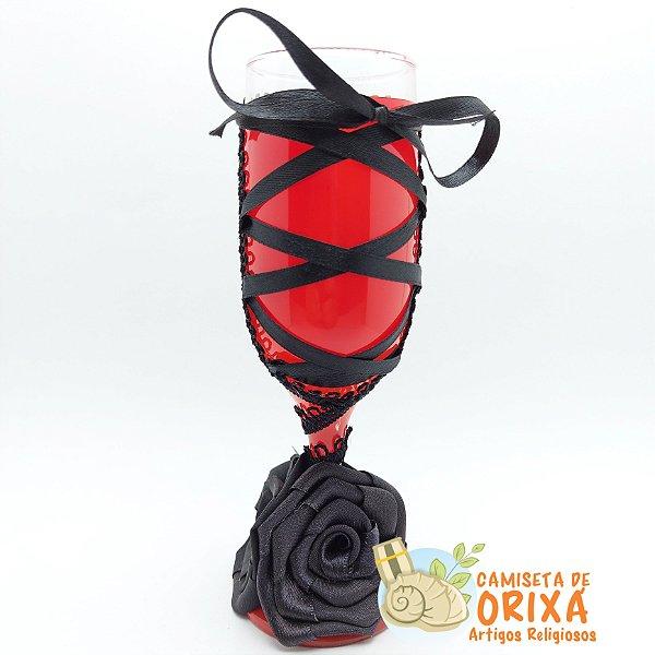 Taça Flor Tecido Preta e Vermelha