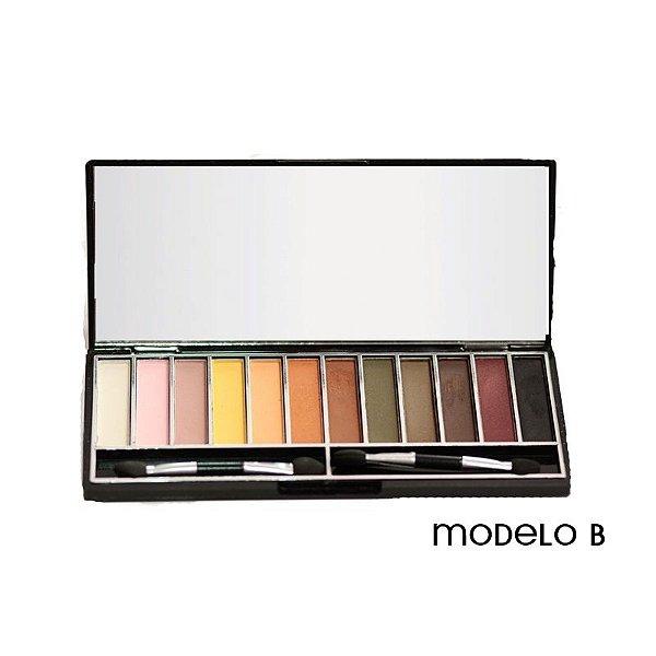 Paleta de Sombras Opacas 12 cores Modelo B Jasmyne V758
