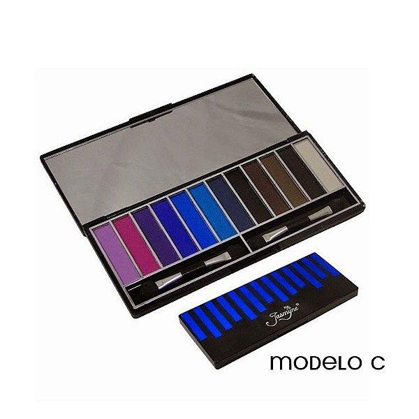 Paleta de Sombras Opacas 12 cores Modelo C Jasmyne V758