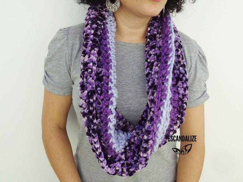 Gola de Crochet Infinita Pelerine Elizabeth - Única Peça