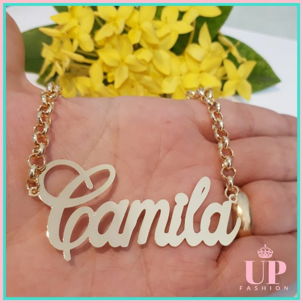 COLAR DE NOME GRANDE FOLHEADO A OURO 18 - Up Fashion Semijoias 92e1db80d3