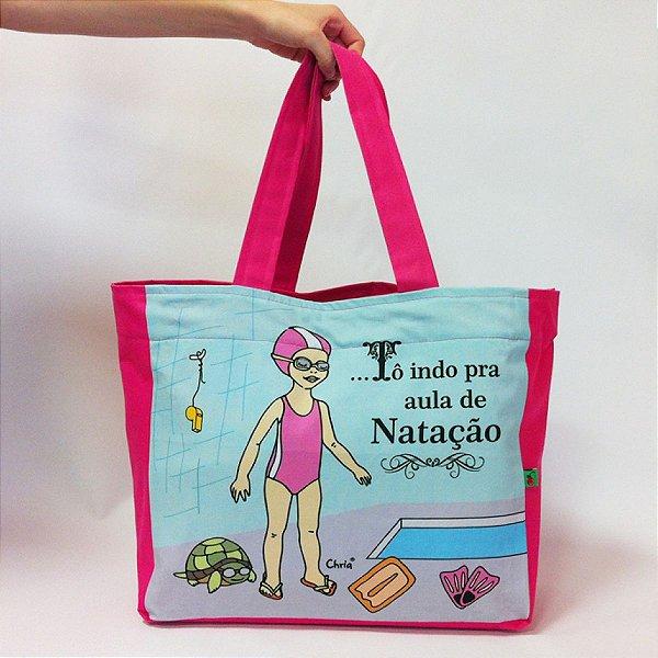 Bolsa To indo pra aula Natação rosa