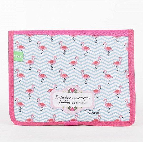 Porta Fraldas e Lenços Flamingo