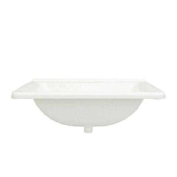 Lavatório Plástico Branco 46 X 35 Cm Com Válvula Embutida