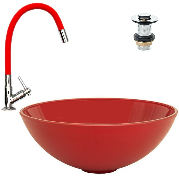 Cuba Plástica de Sobrepor Vermelha + Torneira Vermelha Silicone + Válvula Click
