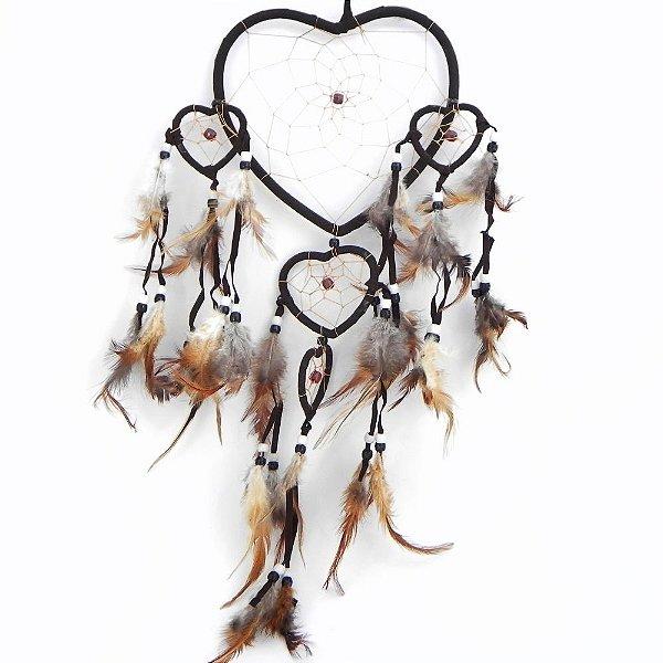 Filtro do Sonhos 5 corações-MarromEscuro