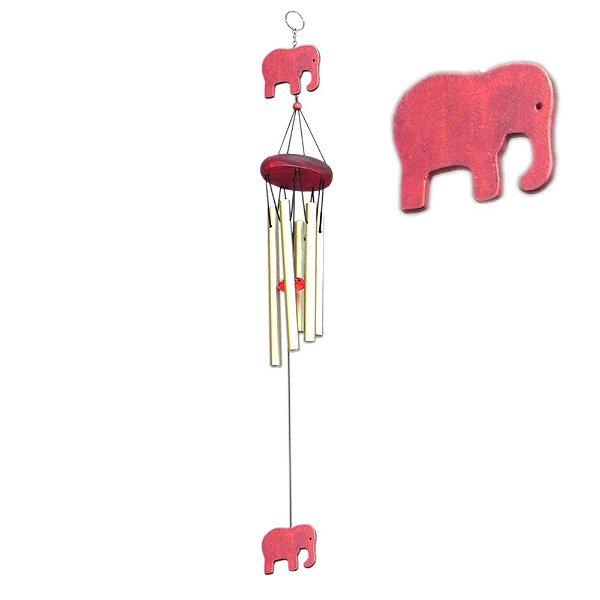 Sino dos Ventos Dourado Elefante Vermelho