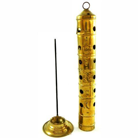 Incensário torre de latão