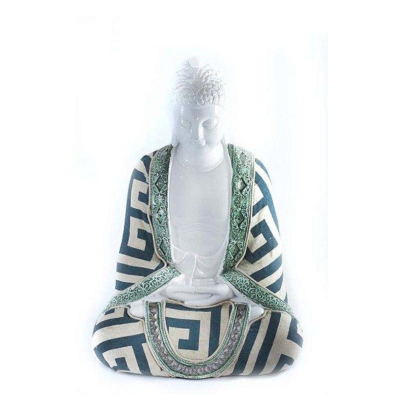 Buda em resina branca com tecido