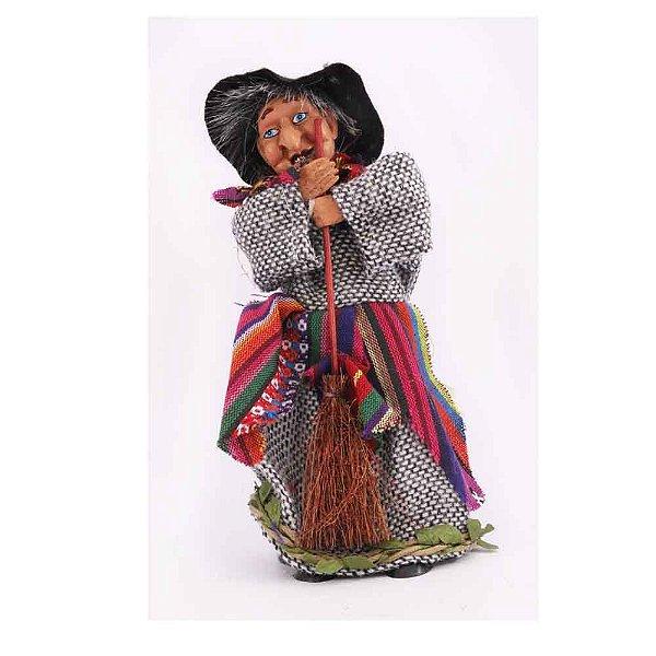 Bruxa com cachecol colorido