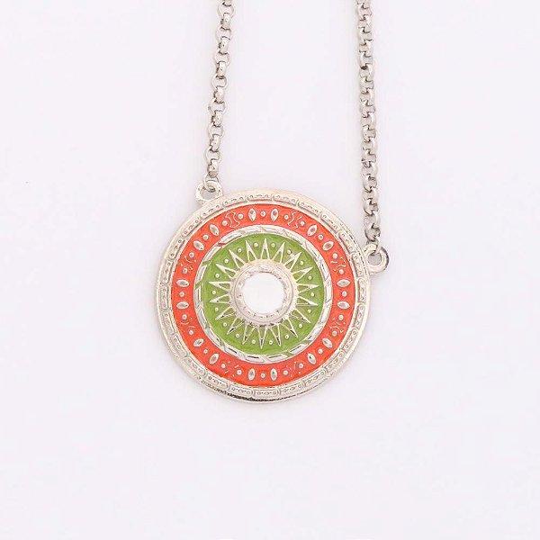 Gargantilha de Mandala - laranja, verde e branco