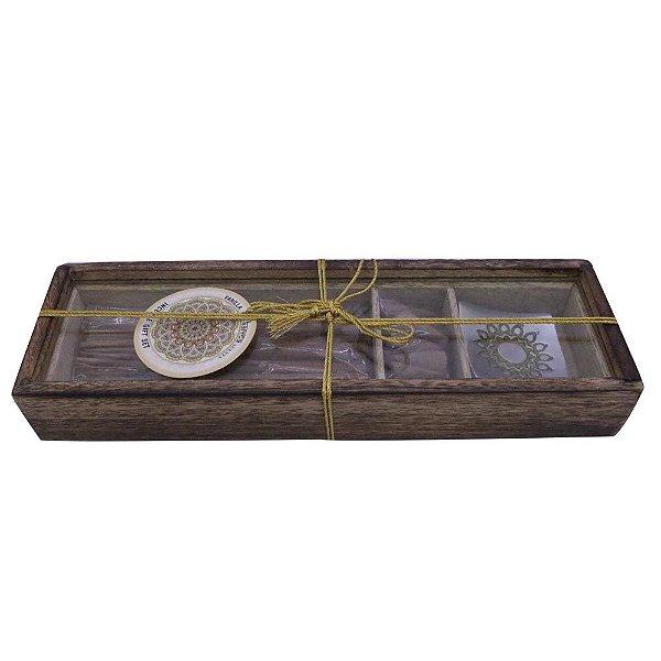 Caixa com Incensário de metal, Incenso e Conos- Kit Vanilla