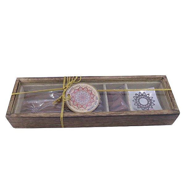 Caixa com Incensário de metal, Incenso e Conos- Kit Patchouli