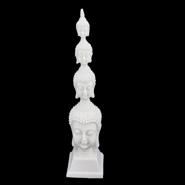 Estatueta Cabeça de Buda de Resina com Pó de Mármore