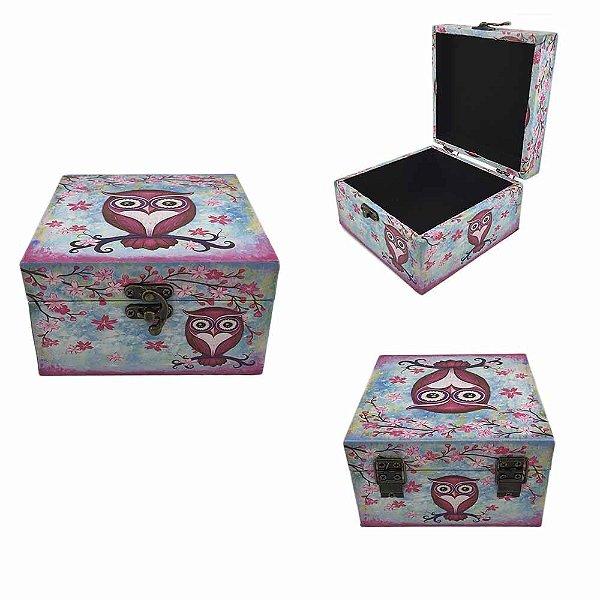 Caixa Porta Jóias Coruja - Rosa Pequena