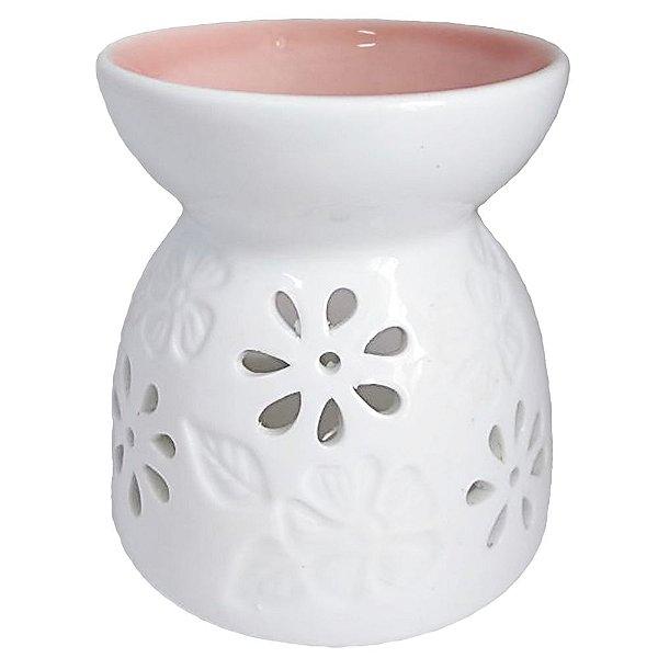 Rechô Flor e Folha de Cerâmica Rosa