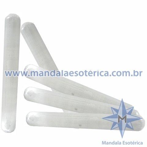 Bastão para massagem de selenita liso ponta arredondada