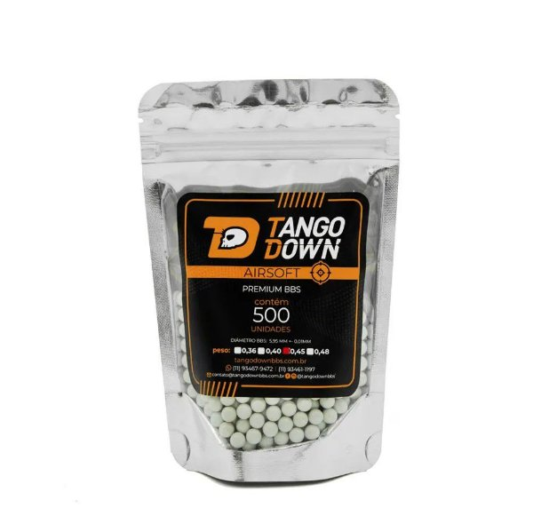 BBs Airsoft 0,45g Premium Tango Down 500 Unidades