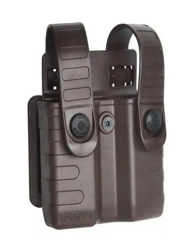 Porta Carregador de Pistola Polímero Bélica Tab Lock - Marrom