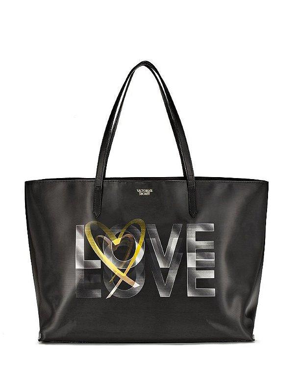 Bolsa Victoria's Secret Love Tote Holograma de couro preta