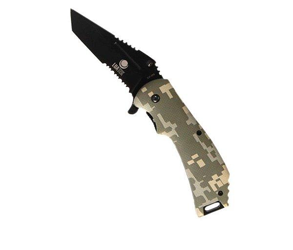 Canivete Tático Digital Verde com clipe de cinto