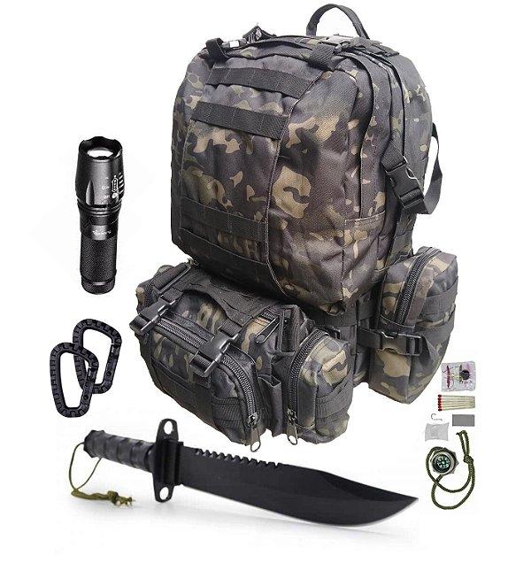 Kit Camping Mochila 60L - X900 - Faca Rambo - mosquetões