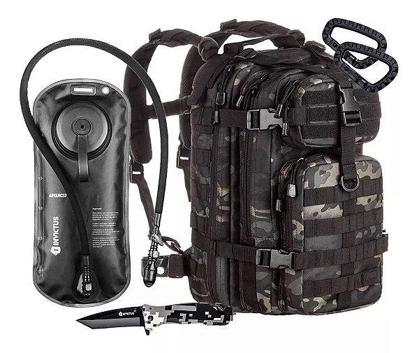 Kit Invictus Mochila Tática Assalt 30L - Canivete Phanton - Refil Advanced - 2 Mosquetões