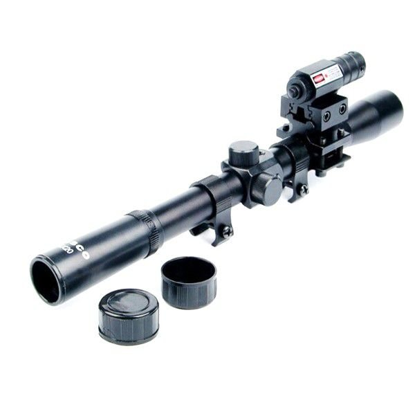 Luneta 4x20 + Laser Dot Vermelho + Mount Para trilhos 11mm