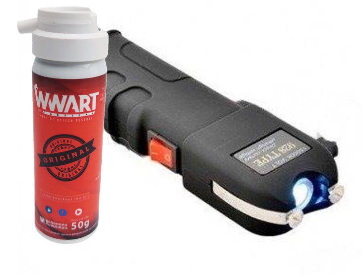 Kit defesa pessoal Arma de de choque grande + Spray de Pimenta