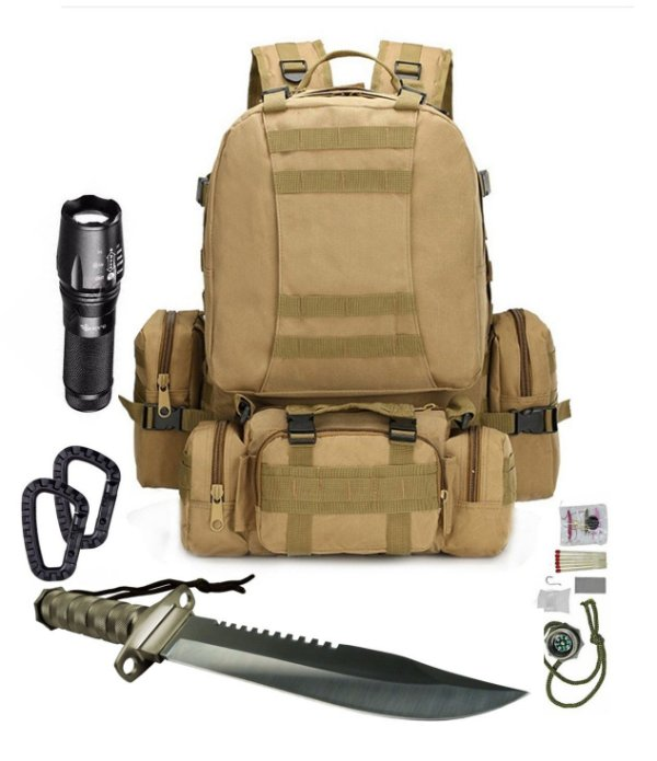 Kit Camping Mochila Tática Modular Coyote 4 em 1 + X900 + Faca Rambo - mosquetões