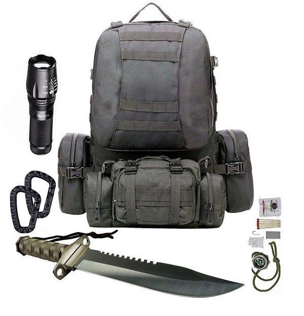 Kit Camping Mochila Tática Modular Preta 4 em 1 + X900 + Faca Rambo - mosquetões