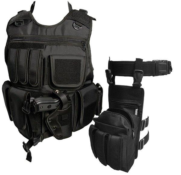 Kit Operacional Capa de Colete Tático SWAT + Bornal Talonário + Cinto NA