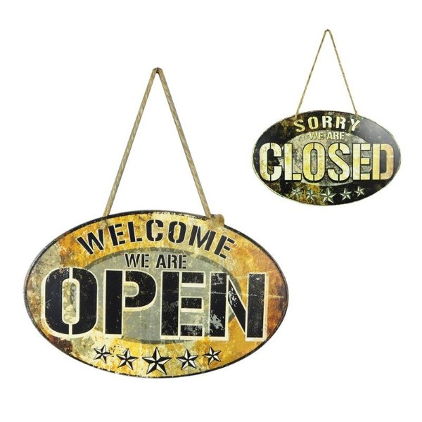 Placa decorativa - Open, closed