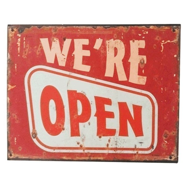 Placa decorativa - We're open